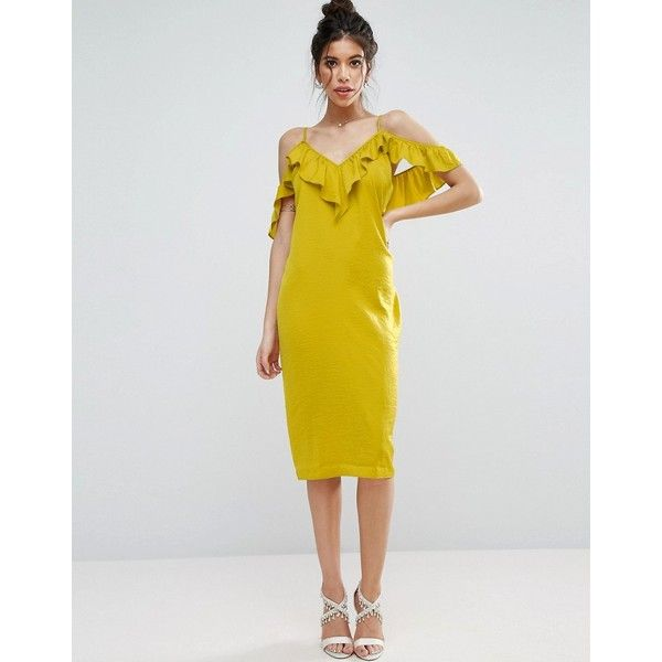 ASOS Satin Ruffle Cami Cold Shoulder Midi Dress ($48) ❤ liked on Polyvore featuring dresses, yellow, yellow dress, strappy cami, yellow cami, satin midi dress and yellow cocktail dress