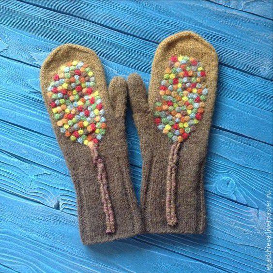Knitted mittens with felt decor   Купить Варежки вязаные и валяные смешанная техника деревья - коричневый, рисунок, варежки