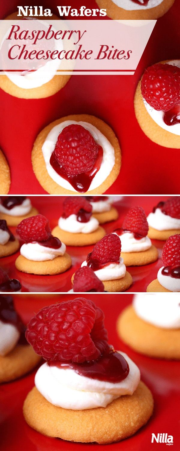 These White Chocolate Raspberry Cheesecake Bites are no bake and so delicious! All you need is cream cheese, white chocolate, jam, raspberries, and Nilla Wafers. Perfect for a holiday party or a fun treat for the whole family.