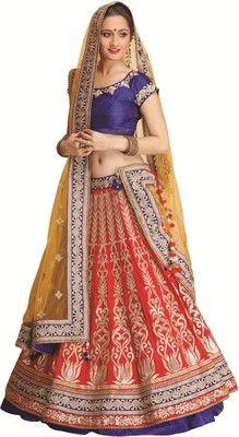 Meena Bazaar Self Design Women's Lehenga Choli - Buy Red Meena Bazaar Self Design Women's Lehenga Choli Online at Best Prices in India | Flipkart.com