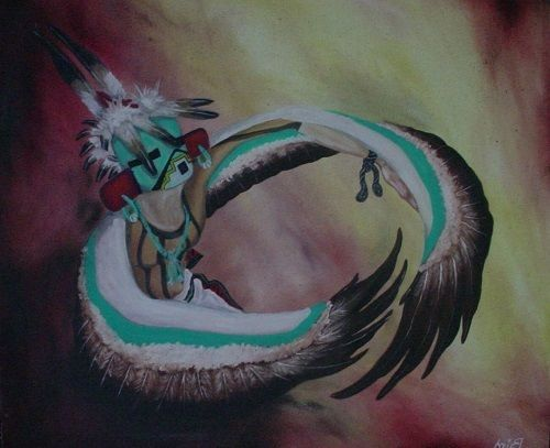 Dancer with Bird Wings, Bird, oil on stretched canvas #NativeAmerican