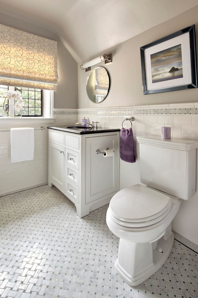 lowes ceramic tile Bathroom Contemporary with basketweave tile chair ...