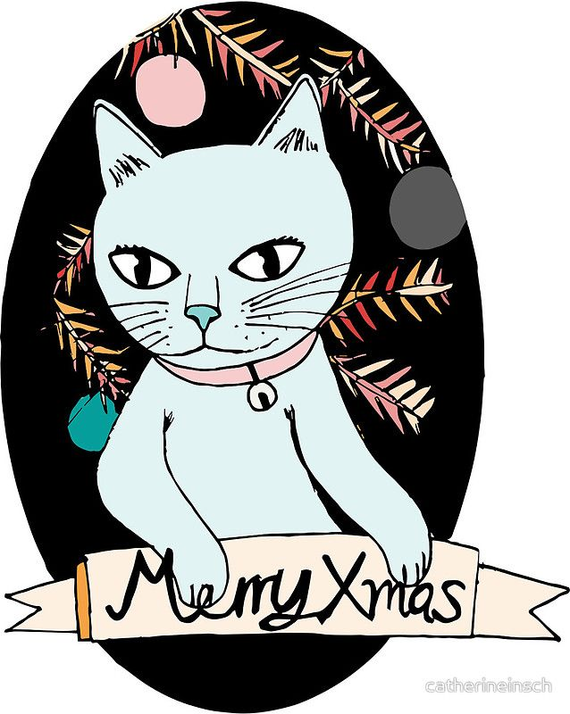 Christmas card cat cute xmas by catherineinsch