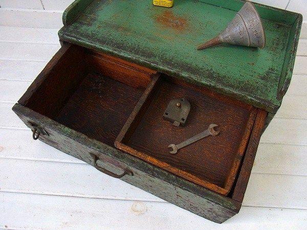 緑色・古い木箱・アンティーク・金庫・宝箱/ツールボックス/棚/引き出し USA | First Trip