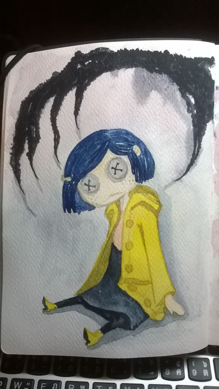 Still Coraline ... the Coraline doll  - Cottman watercolor - Renaissance brush  - Caran D'ache tank brush - Monologue moleskin sketchbook  morgansdailyart.tumblr.com  facebook.com/morgansdailyart