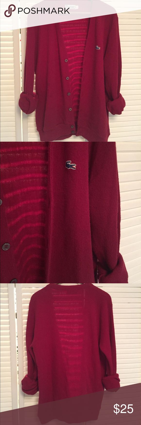 "Vintage Izod Lacoste Cardigan The coolest vintage cardigan sweater I've ever seen!  Izod Lacoste burgundy acrylic cardigan sweater, no flaws.  Men's large.  I'm a small and it fits me pretty oversized but it's so comfy!  29"" long, 20"" Shoulder to Shoulder. Lacoste Sweaters Cardigans"