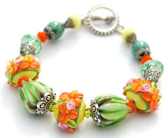 Green Orange Flowers Lampwork Bracelet Roses by shalayneoriginals, $95.00