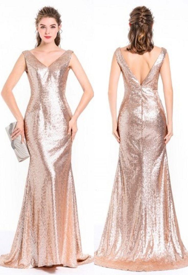 Robe glamour de gala longue pour noel avec sequin bling bling en sirène encolure V dos ouvert