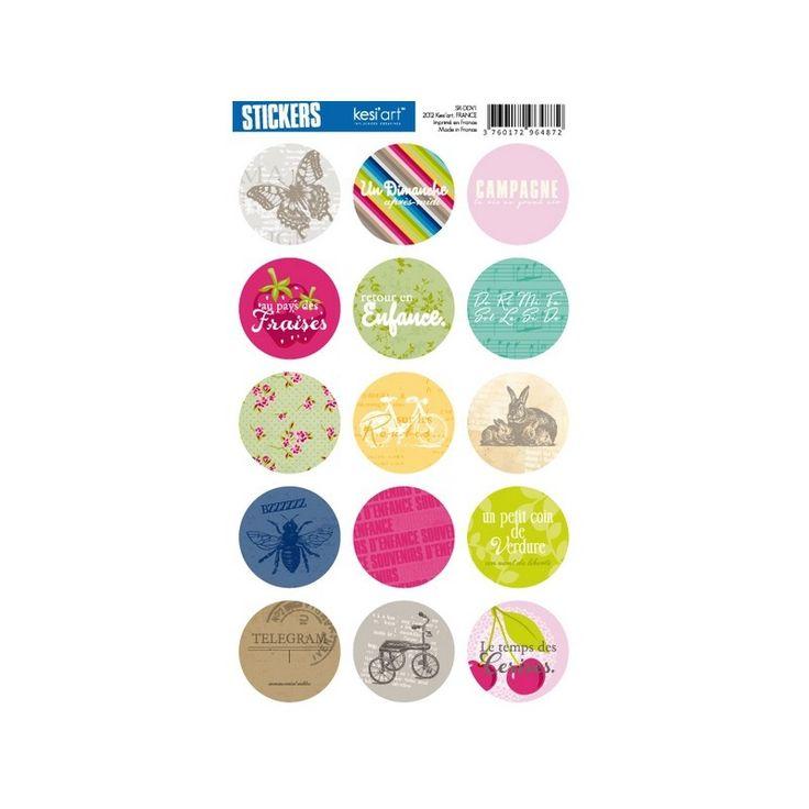 """STICKERS ronds printemps campagne """"Le Clos Fleuri"""" KESI'ART : Stickers, autocollants par boutique-creative-by-c-dona"""