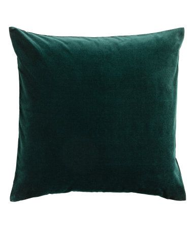 Dark green. Cushion cover in cotton velvet with a concealed zip.