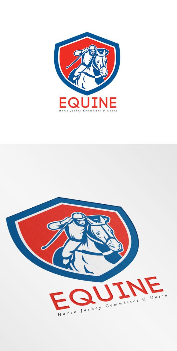 Check out Equine Horse Jockey Union Logo by patrimonio on Creative Market