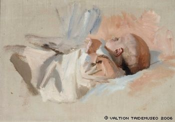 Edelfelt, Albert  Makaava lapsi, luonnos maalaukseen Jouluaamu, 1888