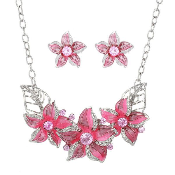 Gold Plated Austrian Crystal Enamel Flower Jewelry Sets African Costume Sapphire Jewelry Maxi Necklace Earring Set