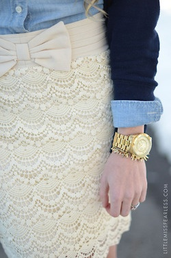 jean shirt, skirt, gold watch= complete outfit and a fashionable outfit. Check!