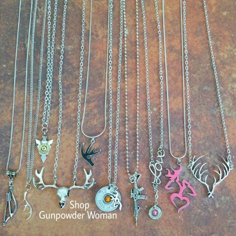 Hunting, Gun, and Bullet Necklaces from Gunpowder Woman www.etsy.com/... Country country girl gunpowderwoman farm girl camo realtree mossy oak guns bullet jewelry bullet belly ring fishing jewelry archery browning redneck rebel flag southern firearms Miranda lambert womens jewelry - http://amzn.to/2j5ojeD