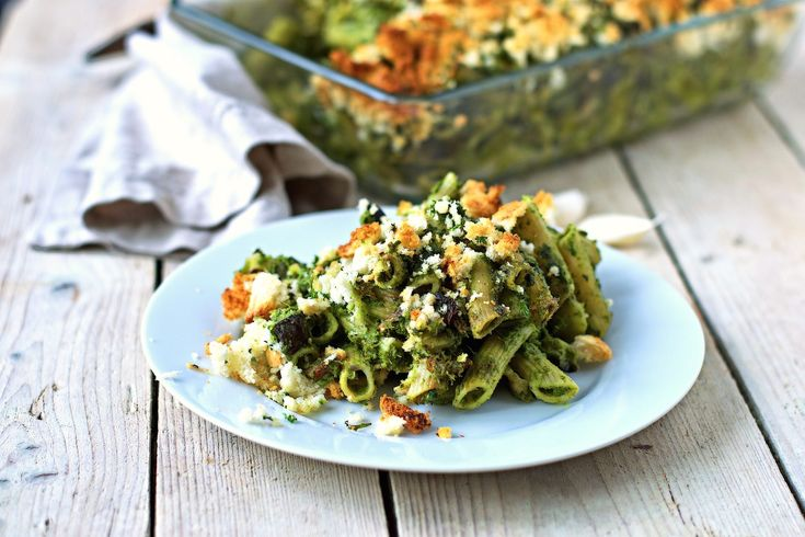My love for kale shows in this Kale Pasta Casserole recipe: Kale Pesto is combined with sun-dried tomatoes, sautéed eggplant, and olives.