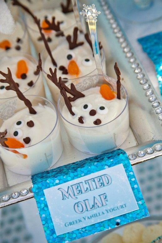 """Melted Olaf"" Greek Vanilla Yoghurt, use pretzels instead of chocolate for arms. Good alternative to cupcakes for school birthday"