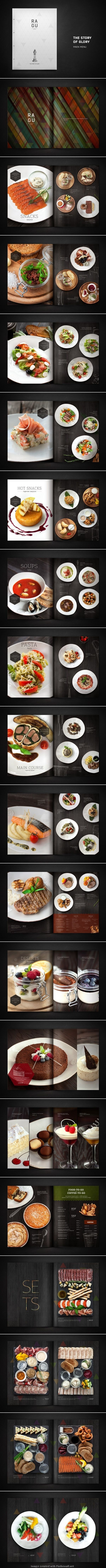 There is nothing better in a menu than high quality pictures of the food. The polished black wood in the background mimics a table setting and makes the pictures of the food pop. The larger image on the left serves as a balance for the three smaller dishes on the right.: