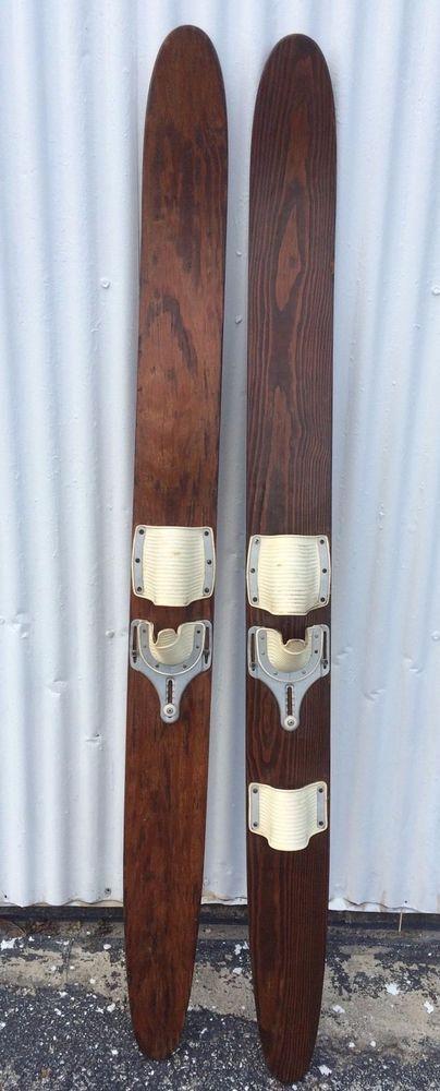Vintage/ Antique Solid Wood Water Skis (pair) #na