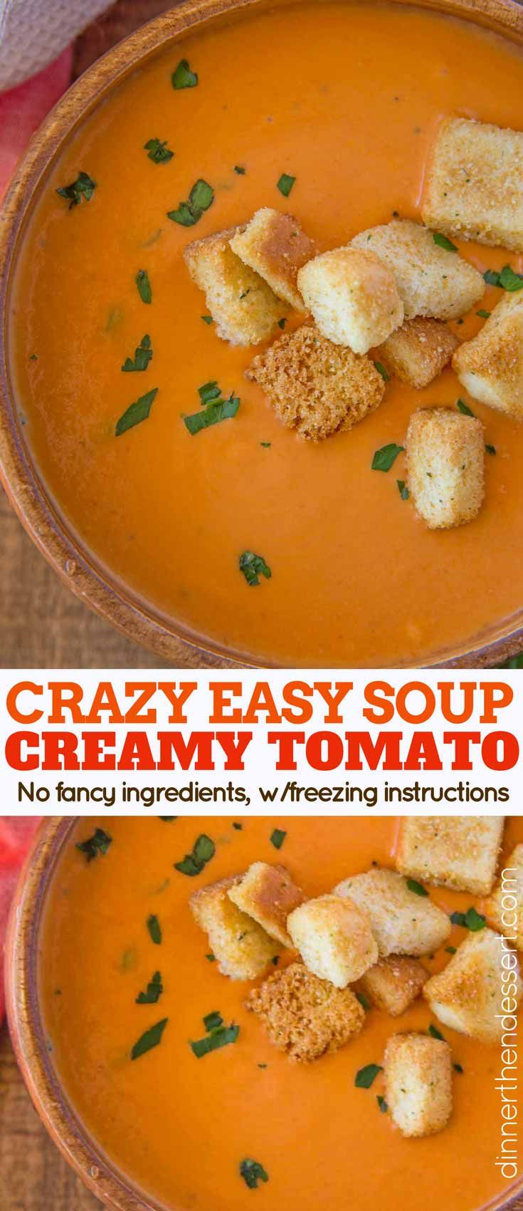 Easy Creamy Tomato Soup made with just a handful of ingredients and so smooth you'll never eat the canned stuff again. Plus it is ridiculously easy to make!
