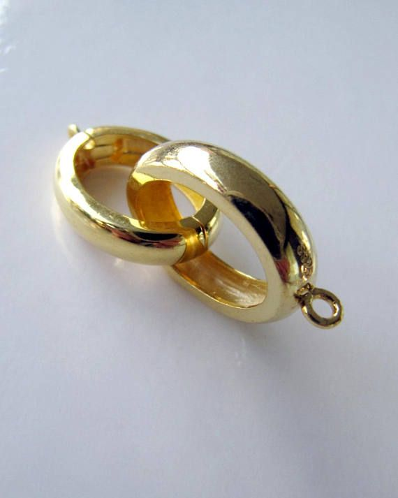 d50a5d29d Gold vermeil clasp / silver clasp / interlocking ring clasp / jumbo large  big heavy focal designer luxury clasp This striking highly polished gold  vermeil ...