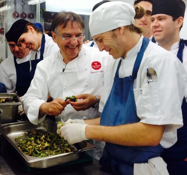 Chef Gary Jones tweets Chef Raymond Blanc racing Liam at Le Manoir. Cool way for Liam to end his 2 Michelin star internship!