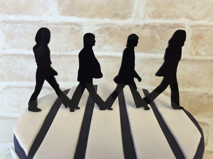 The Beatles Abbey Road cake topper - Black acrylic