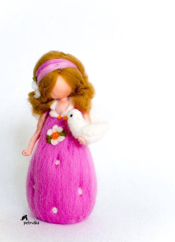 Little fairy girl, dressed in pink. You can choose different options, shown on photos...  This fairy can be a beautiful gift for birthdays, baptism or some other special occasions. She is about 13 cm high. The price is for ONE fairy. You can choose any color, any hairstyle, some