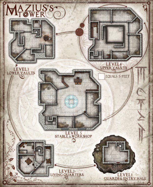 Mazius's Tower, originally a map for Dungeons and Dragons, but also excellent for other adventuring as well! This is the Digital Download...