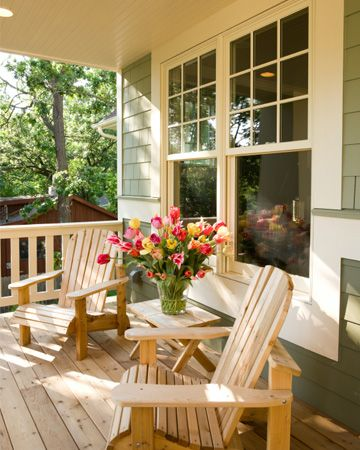 It S What S Outside That Counts Front Porches Adirondack Chairs And Flower