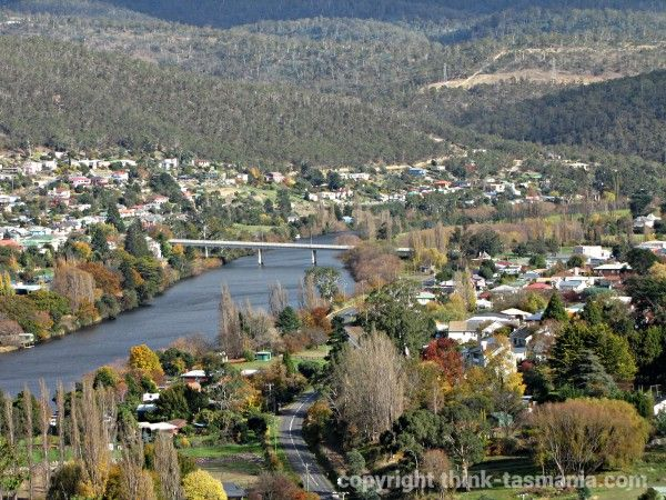 New Norfolk and the Derwent River from Pulpit Rock Lookout. Article and photo for www.think-tasmania.com