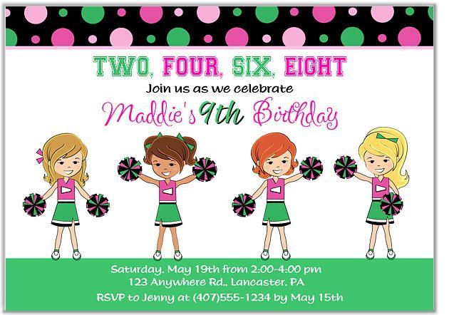 Cheerleader Birthday Party Invitations $1.00 each http://www.festivityfavors.com/item_756/Cheerleader-Birthday-Party-Invitations.htm