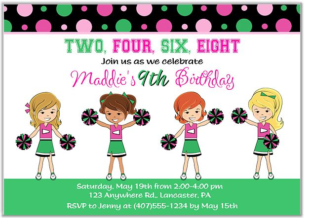Cheerleader Birthday Party Invitations $1.00 each http://www.festivityfavors.com/item_756/Cheerleader-Birthday-Party-Invitations.htm