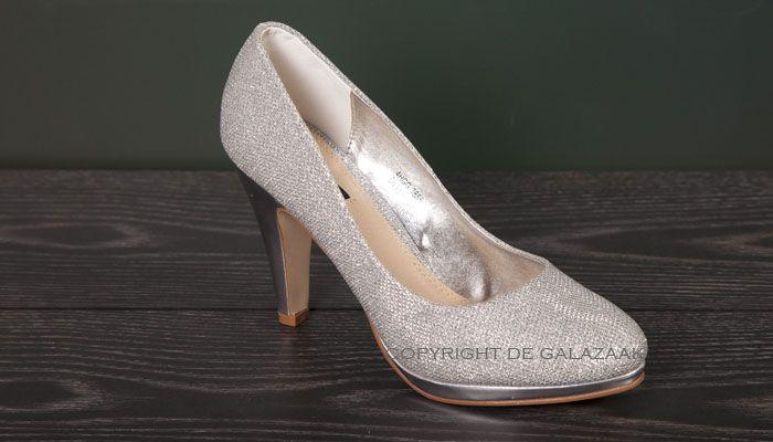 Glitter pumps met zilveren hak 3070