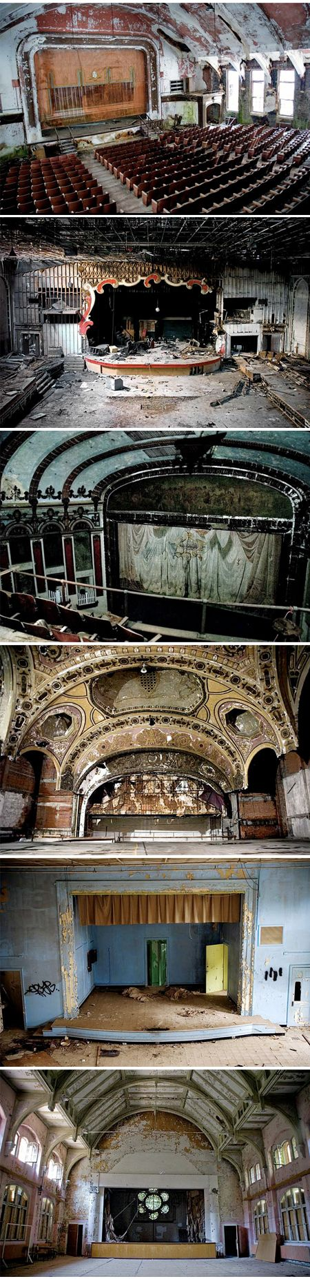 """Julia Solis explores and photographs forgotten, paint-chipped mental hospitals, ancient tunnels beneath the city streets, and the detritus left behind after institutions fall into disrepair and become obsolete. She took these photos of abandoned theaters — a series aptly titled """"Stages of Decay""""."""