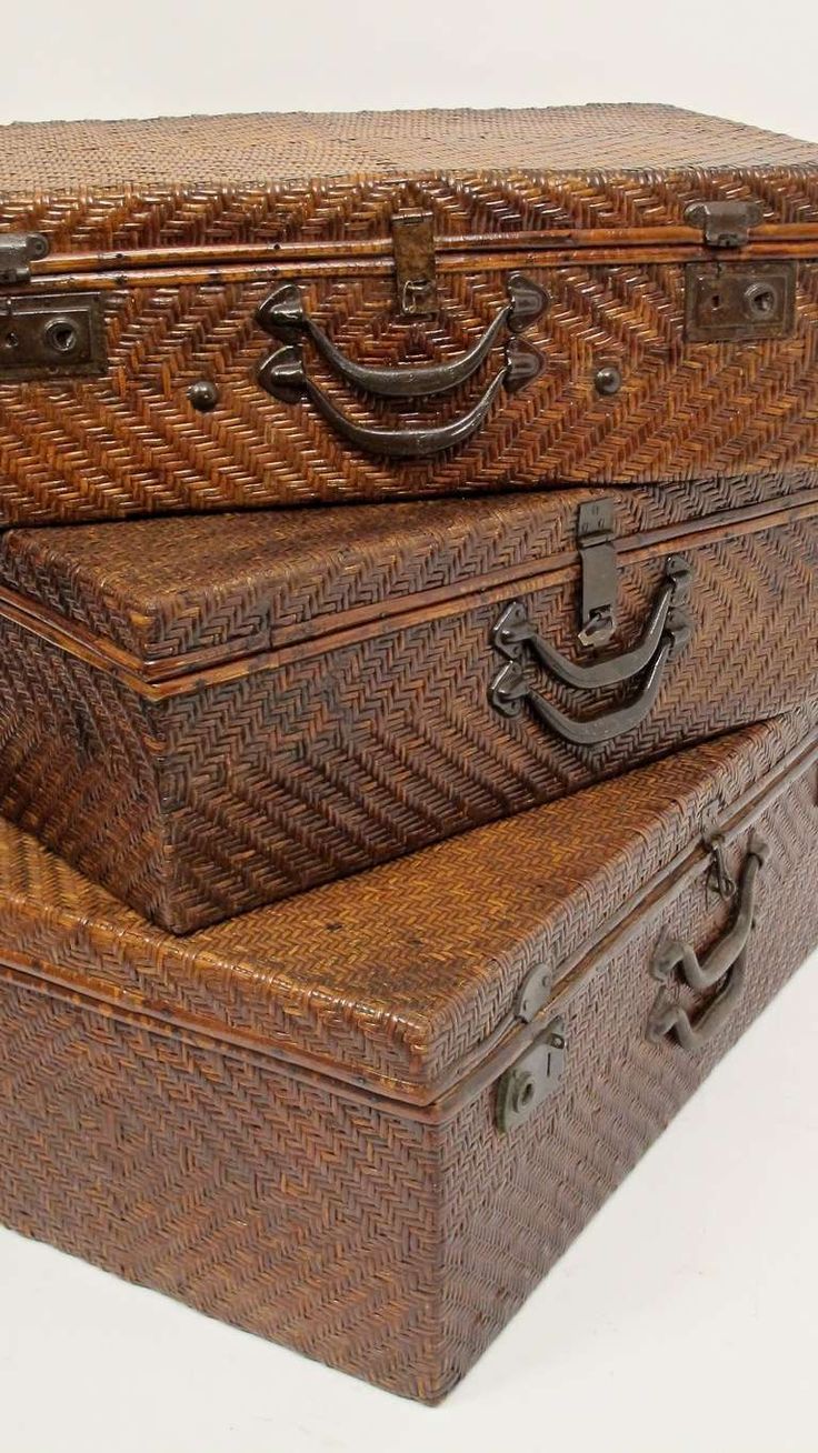 Set of Three Antique Woven Cane Luggage/Trunk/Suitcases image 9