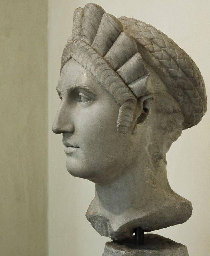 Salonina Matidia - profile, head of (colossal) Roman statue (marble), 2nd century AD, (Palazzo dei Conservatori, Rome).