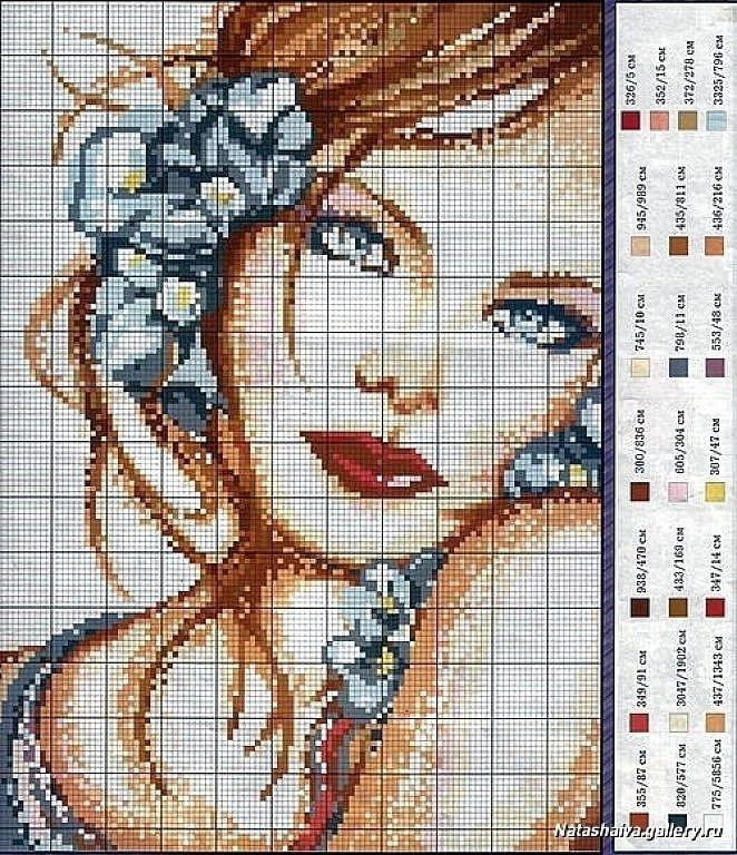 point de croix visage de femme aux yeux bleus - cross stitch woman's face with blue eyes