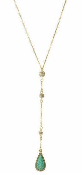 Love this Necklace! Delicate Bohemian Style Turquoise and Gold Coronado Teardrop Necklace from Karen Kane is simply stunning with its dainty gold chain adorned with clear pave crystals and a teardrop-shaped stone pendant. #Coronado #Necklace #Fashion #Jewelry #Gift #Ideas