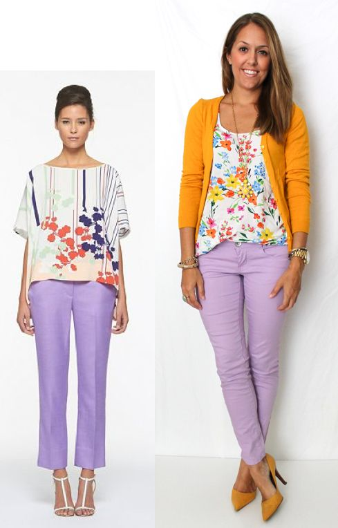 sweet & refreshing color combo: lavender jeans, yellow cardigan with floral print blouse