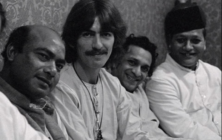 Ustad Ali Akbar, George Harrison, Pandit Ravi Shankar and Ustaad Bismillah Khan