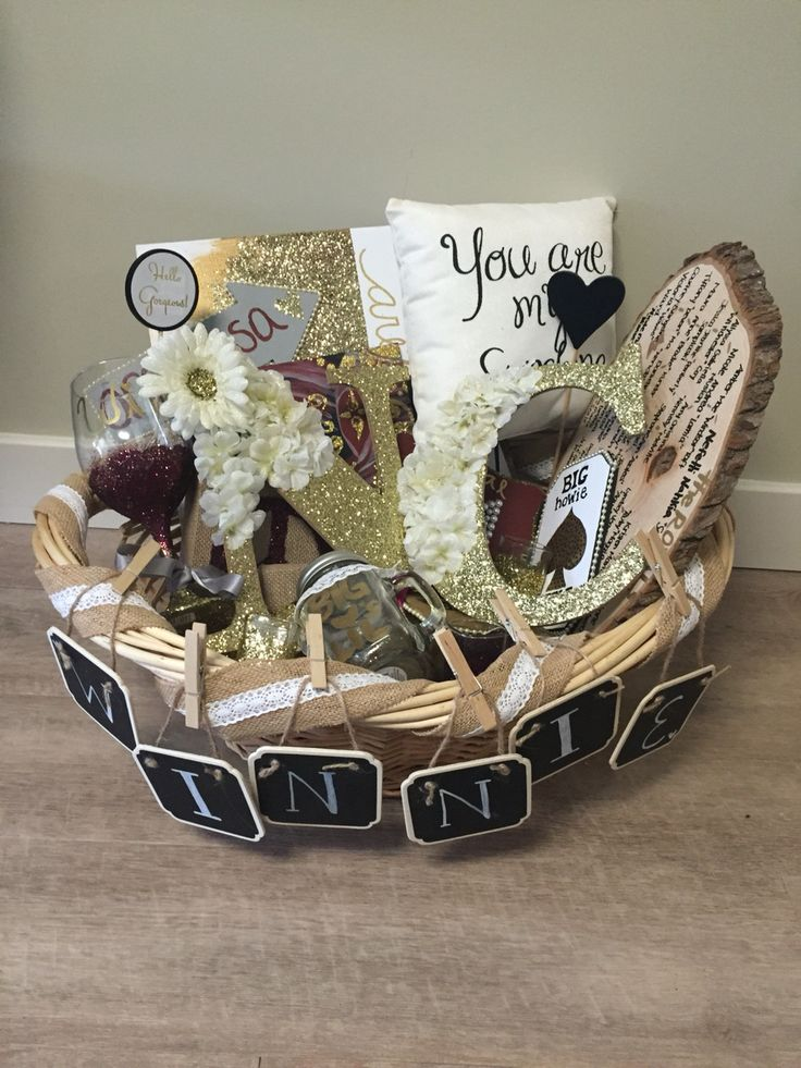 red and gold sorority big little basket