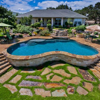 Pool on slope home outdoor pool pinterest - Nice above ground pools ...