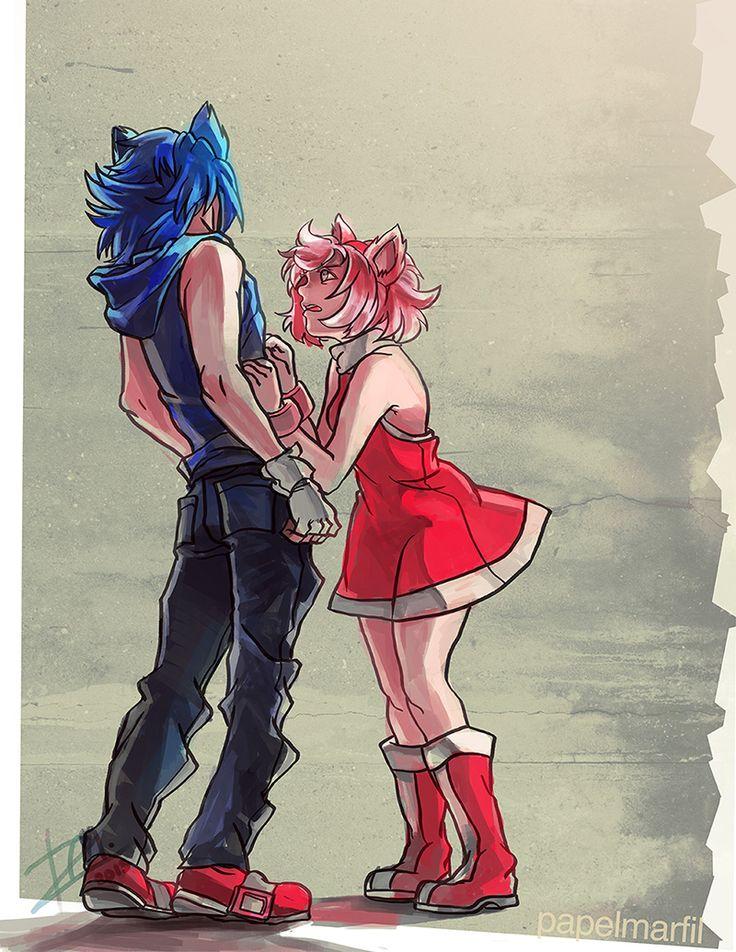 Human Sonic and Amy Kinda reminds me off sasuke and sakura from naruto