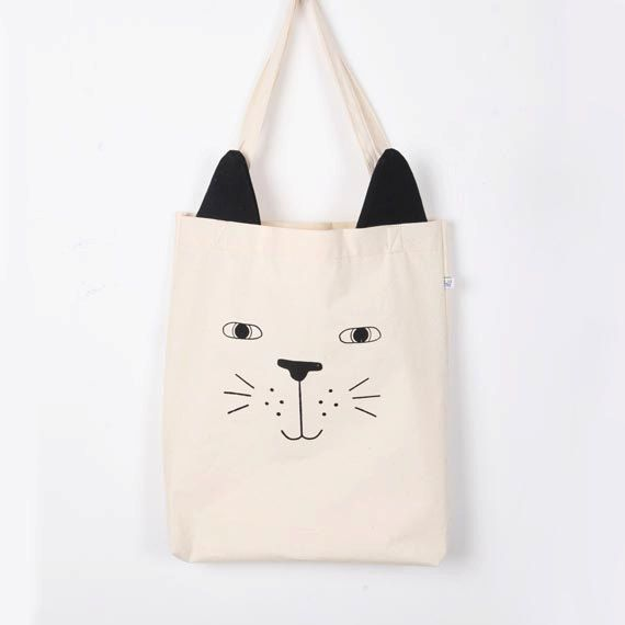 The Cat Tote Bag by @TingeCraft on Etsy, $25.00 #tote #bag #cat #ears #cute #shopper
