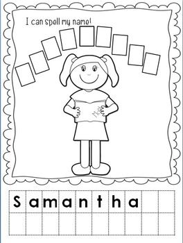 Make name book, letters on top of page, photo of kids face doing illustrated activities, sentences on bottom, kids write in name at bottom-  feelings book too with appropriate photo faces
