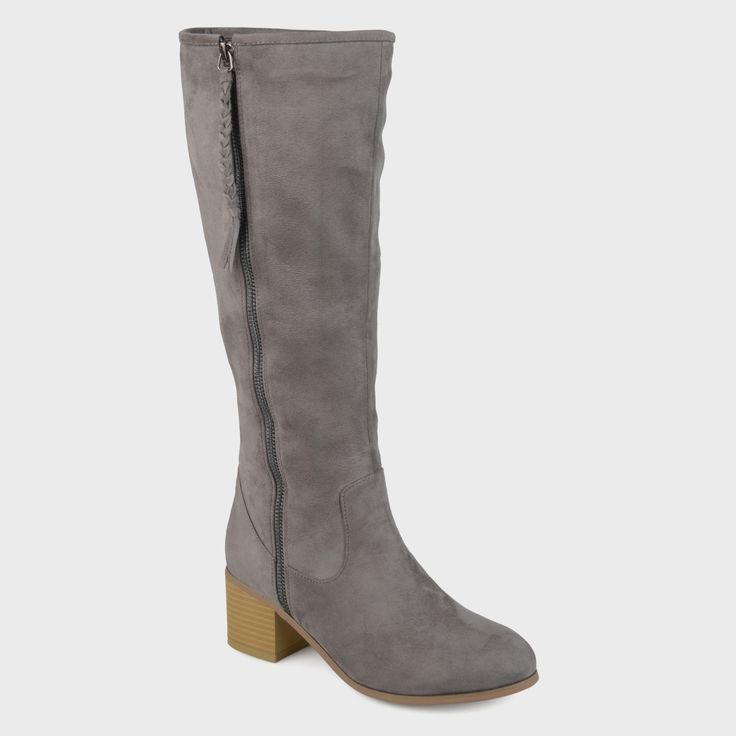 Women's Journee Collection Sanora Stacked Wood Faux Suede Heel Mid-calf Boots - Gray 9.5 WC, Size: 9.5 Wide