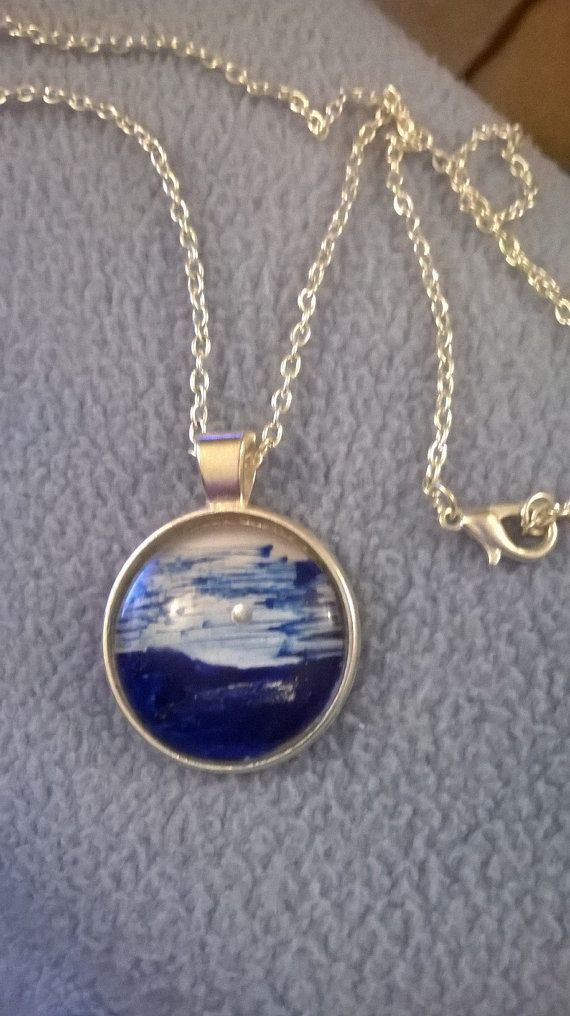 Pendant  hand painted in melted beeswax blue by kittikakraft