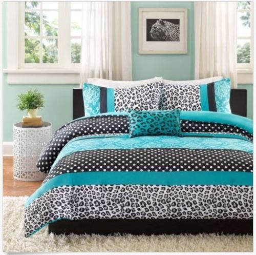 Mi-Zone-Camille-Teal-Pieced-Animal-Print-Twin-XL-Bedding-Comforter-Set-New
