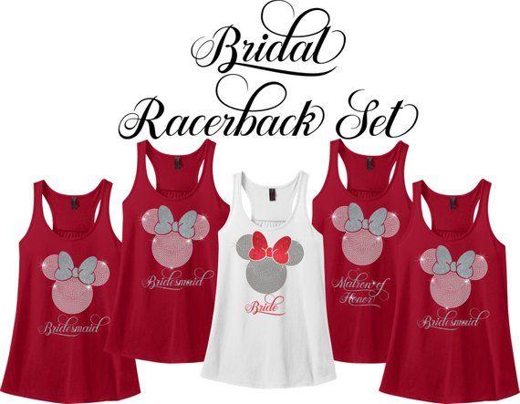 Minnie Mouse Bridal Party Racerback Set, Wedding Party Tank Set, Bride, Bridesmaid, Bridal Party Set, Bachelorette Party Tank Set, Racerback
